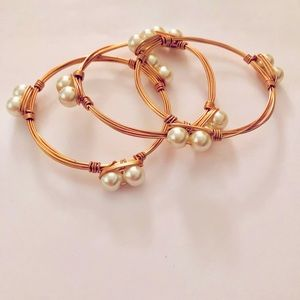 Three gold wire bangles w/ faux pearls NEW!